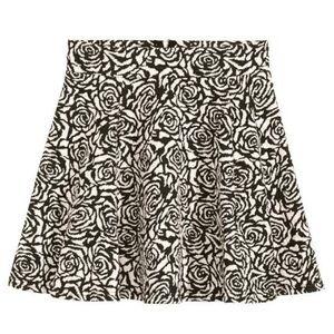 🕊NWOT Floral Black & Cream Skater Skirt